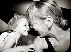 we (sesame ellis) Tags: family blackandwhite woman selfportrait me girl laughing us toddler mommy mother mykid together year2