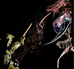 spartanvhorseoid (mdsmedia9) Tags: portrait toy fighter smoke flash halo sage spartan spear snoot