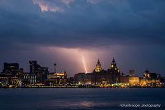 Lightning over Liverpool (*Richard Cooper *) Tags: storm building weather liverpool pier head lightning liver mersey wirral merseyside seacombe
