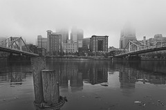 Old Pittsburgh (Brad Truxell) Tags: city blackandwhite fog river pittsburgh bridges hdr alleghenyriver sigma1020mm dynamicrangeincrease luminositymasks nikond7000