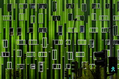Green means walk! (Maerten Prins) Tags: madrid new windows abstract building green texture sign wall modern spain pattern crossing walk go pedestrian lamppost stopsign spanje explored gonogo