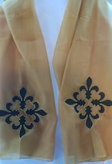 2015-08-06 09.51.11 (Cajun Stitchery) Tags: blue black fleur scarf de gold beige florida lace embroidery metallic teal champagne handkerchief custom cajun stitchery pensacola lis hankerchief hankie hanky
