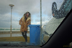 Wet Blue Bin (OzzRod (catching up)) Tags: blue rain droplets pentax bokeh windscreen k5 smcpentaxa20mmf28