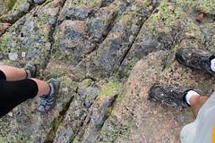 Lichens and shoes (daveynin) Tags: feet rock foot shoes nps leg boulder lichen acadia deaftalent deafoutsidetalent deafoutdoortalent