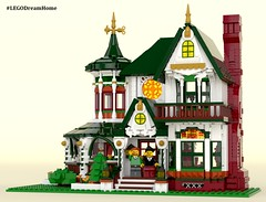 Victorian Dream Home on LEGO Ideas - Main (buggyirk) Tags: building whimsical district creator house queen victorian modular buggyirk historic architecture historical home anne dream bassinet piano grand baby figure minifigure lego afol moc dark green red white orange fireplace bedroom living room dining dinette set wing chair tufted couch interior exterior garden turret tower gable finial stained glass window porch grandfather clock chandelier light brick built spiral staircase stairs pillar flower tree bush ideas crawl space vent arch tile family legodreamhome fantasy whimsy miniature