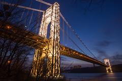 George Washington Bridge Lights (jessicaweinbergmcclosky) Tags: fortwashingtonpark georgewashingtonbridge hudsonriver manhattan newyork washingtonheights dusk scenery bridge