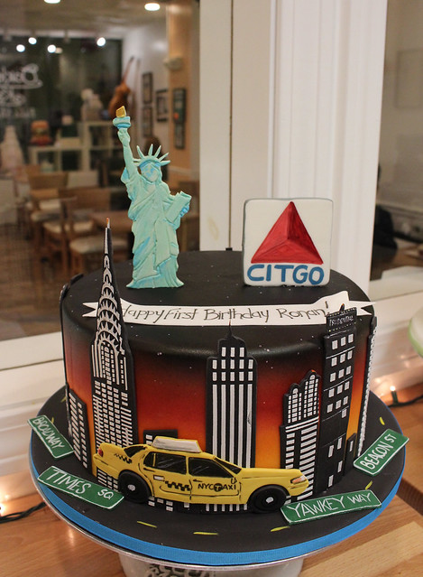 New York And Boston Skylines Cake