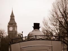 The Coachman (Feldore) Tags: coachman vintage london english england feldore mchugh em1 olympus 1240mm sepia big ben street candid coach traditional