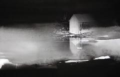 Massa temps en solitud (II), Demasiado tiempo en soledad, It have been alone too long (ibethmuttis) Tags: surreal black white water river conceptual cottage china ink solitude texture