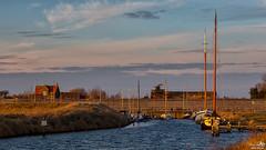 Marina Battenoord (BraCom (Bram)) Tags: bracom boats boten dike dijk huizen house water jetty pier steiger cloud wolk trees bomen fence hek evening avond nieuwetonge batenoord goereeoverflakkee zuidholland nederland southholland netherlands holland canoneos5dmkiii widescreen canon 169 canonef24105mm bramvanbroekhoven nl