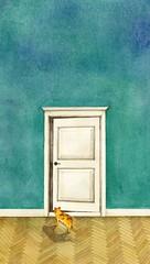 비밀의 문 (jink0308) Tags: 배경화면 문 고양이 벽 일러스트 수채화 동화 비밀 수작업