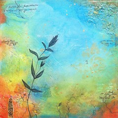 "abstract original modern painting 12""x12"" (lspring111) Tags: plant abstract collage modern painting gold handmade contemporary teal oneofakind crackle torquoise byartist"