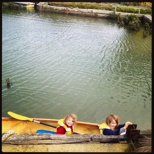 185/365 • it's high tide and it's a Dadda Day - they're off! • #185_2015 #canoe #creek #boatyard #paddle #7yo #4yo #water #Winter2015 #explorers #bonboyage