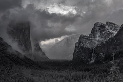 Revealed (Maddog Murph) Tags: yosemite national park bridalveil fall falls cathedral rocks east el capitan travel moraine glacier carve canyon valley fine art storm clouds mist snow trees tree forest foggy misty