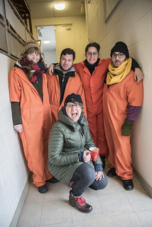 Witness Against Torture Member Jerica Arents Poses with Members of an Anti-Tear Gas Campaign