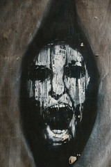 "Tortured Scream ""Explored"" (Derbyshire Harrier) Tags: neepsend sheffield 2016 december southyorkshire art wood winter dark spooky urban street neepsendlane explore explored"