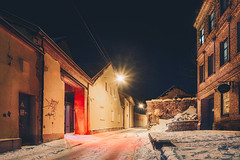 _DSC1819p (ERNIS31) Tags: vilnius street longexposure road night city lithuania lietuva a6000 sony sonyphotography alpha ilce sonya6000 tripod kitlens arch building structure bricks lighting yellow sharp bright architecture red brightred gatve cold verycold saltukas salta