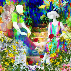 A Garden Romance (Lemon~art) Tags: valentinesday mannequin garden steps flowers balloons love roses romance valentine manipulation photocomposite