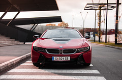 Frontend Friday with the Fall colored BMW i8 (The.Driven.Society) Tags: bmw i8 bmwi born electric future is here sportscar hybrid power sustainable austria vienna photography sunset flare nikon d600 fullframe automotive proton red