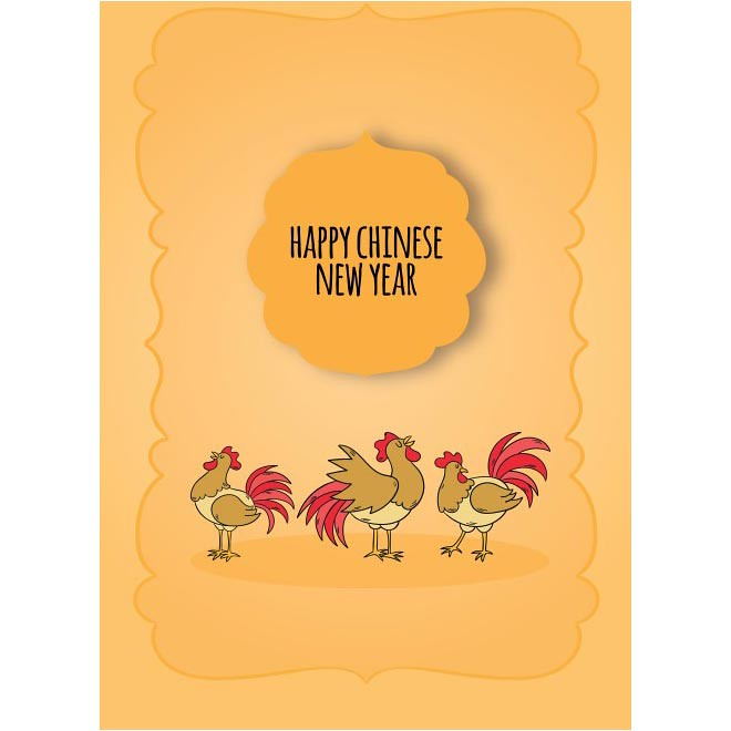 free vector happy chinese new year 2017 with three rooster greeting card cgvector tags