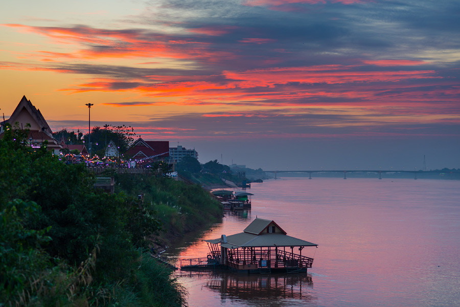 Beautiful sunset over the Mekong River in Nong Khai