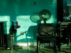 Study in Aqua and Afternoon Shadows (prima seadiva) Tags: aqua beautyshop light shadow sunny hairdryer