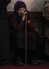 An Old Man, by: David Avidan (ybiberman) Tags: israel jerusalem oldcity alquds christianquarter churchoftheholesepulchre prayer nun greek russian old tired contemplating walkingstick veil hat portrait candid streetphotography