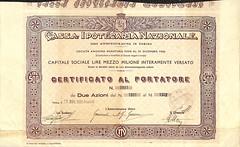 CASSA IPOTECARIA NAZIONALE (scripofilia) Tags: 1934 azioni cassa cassaipotecarianazionale ipotecaria nazionale