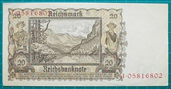 1939-REICHSBANKNOTE-ZWANZIG-REICHSMARK-REVERSE-J05816802-124-D5 (noteworthycollectibles) Tags: germany paper deutschland mark silk imperial currency banknote notgeld seiden pfennig hyperinflation badische reichsbank emergencymoney darlehnskasse