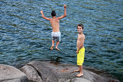 Some jump (Gordana AM) Tags: blue friends summer vacation two lake canada green boys water childhood smiling june vancouver swimming children fun photography photo jumping photographer bc brothers britishcolumbia waters shorts relaxation brotherhood boyhood portcoquitlam gordana hicks lowermainland lepiafgeo wwwgordanaphotocom gordanamladenovic