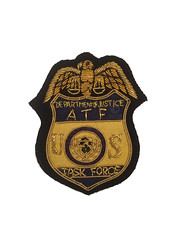ATF Task Force Gold Bullion (Nate_892) Tags: gold justice police special alcohol badge agent patch shoulder tobacco department inspector firearms bullion atf subdued doj