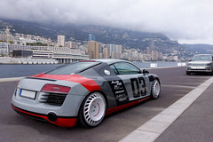 Quattro Style (GtCh) Tags: red white car wheel sport port germany french rouge grey gris automobile riviera harbour top sony wheels messer voiture monaco custom audi marques blanc supercar dsc v8 r8 blanches jantes 2015 rx100