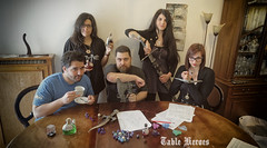 Table Heroes : group (the party) photos (SpirosK photography) Tags: tableheroes group party fantasy dungeonsanddragons dd tabletop rpg cleric elf elfcleric barbarian humanbarbarian humanmage mage tiefling rogue tieflingrogue portrait