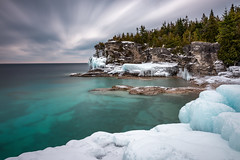 Winter at Indian Head Cove (Brian Krouskie) Tags: tobermory indian head cove winter ice frozen snow water turquoise rock trees evergreen longexposure landscape outdoor georgianbay