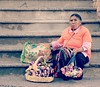 A woman in Mexico (France-♥) Tags: 708 woman mexico puertovallarta indigenous mexicanindian selling basket steps escaliers souvenirs femme regard mujer mexique one vendeuse vendedora elcentro
