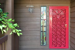 Red Door (David K. Edwards) Tags: door red wroughtiron front porch stainedglass windchimes lajolla birdrock california dumbass