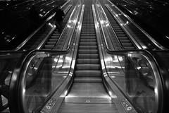 Moving Stairway (theflyingtoaster14) Tags: wien vienna hauptbahnhof railway station architecture architektur glas glass bw schwarzweiss sony rx10 night abend steel rolltreppe optische täuschung escalator