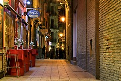 Typical places (Daniel Nebreda Lucea) Tags: night noche alley callejon city ciudad street calle old antigua vieja casco antiguo lights luces shadows sombras bar pub beer ocio table mesa perspective perspectiva zaragoza aragon spain españa europe europa weekend colors colores canon 50mm 60d travel viajar architecture arquitectura vuildinf edificio house casa life vida texture textura urban urbano culture cultura spanish española español