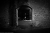 Pram, Man, Dog (Jonathan Vowles) Tags: london tunnel dog black framed