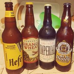 MY NEW YEARS LINE UP. (SPEAR1X) Tags: cold beer mesohoney widmerbrothers hefe wheatbeer hangar24 orangewheat lagunitasbrewingcompany imperialstout belchingbeaver newyears drink 2016 22oz