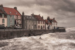 Stormy St Monans (Katherine Fotheringham) Tags: st monans scotland fife sea forth choppy waves clouds houses street