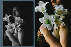 (her storiez...) Tags: she flowers portrait bw colors girl beautiful pretty poetry flickrites bwdreams inspiredbylove bnwdiamond bnwclassic