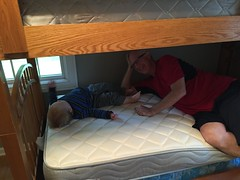 "Paul with Grandpa Miller on His New Bunk Bed • <a style=""font-size:0.8em;"" href=""http://www.flickr.com/photos/109120354@N07/18580489955/"" target=""_blank"">View on Flickr</a>"