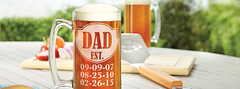 personalized dad beer mug stein on table with cutting board grilling spatula and chopped vegetables onion tomato (PersonalCreations.com) Tags: beer glass vegetables tomato board grill onions cutting mug grilling stein spatula