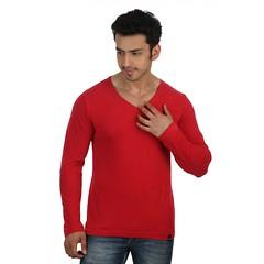 Red Slim V Neck-Full Sleeve