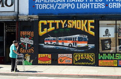 The Mission, July 2015 (Rob Bellinger) Tags: sf street city bus sign mural san francisco hand painted smoke 14 smoking muni walker mission anomalies fortyniners vaping friscogiants reeseskingsize