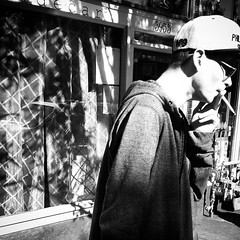 Hipster's 21st Birthday (Robert_Brown [bracketed]) Tags: street bw white black oregon mississippi square portland cigarette cig squareformat avenue inkwell cigaret robertbrown iphoneography instagramapp uploaded:by=instagram smokingangst