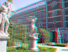 Garden Rijksmuseum Amsterdam 3D (wim hoppenbrouwers) Tags: amsterdam garden 3d anaglyph stereo tuin rijksmuseum sculptures redcyan museumtuin gardenrijksmuseumamsterdam