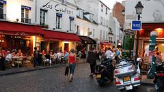 Montmartre at dusk II (RafalZych) Tags: paris paryż france francja montmartre sacre coeur blue hour dusk nikon d80 1835 nikkor restaurant restaurants street life walk view les coulisses bistro taxi sign signs streets romantic city travel