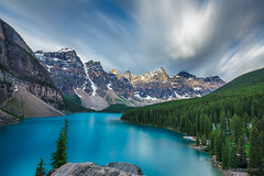 morning farewell (john dusseault) Tags: canada morainelake rockies banffnationalpark mountain lake alberta